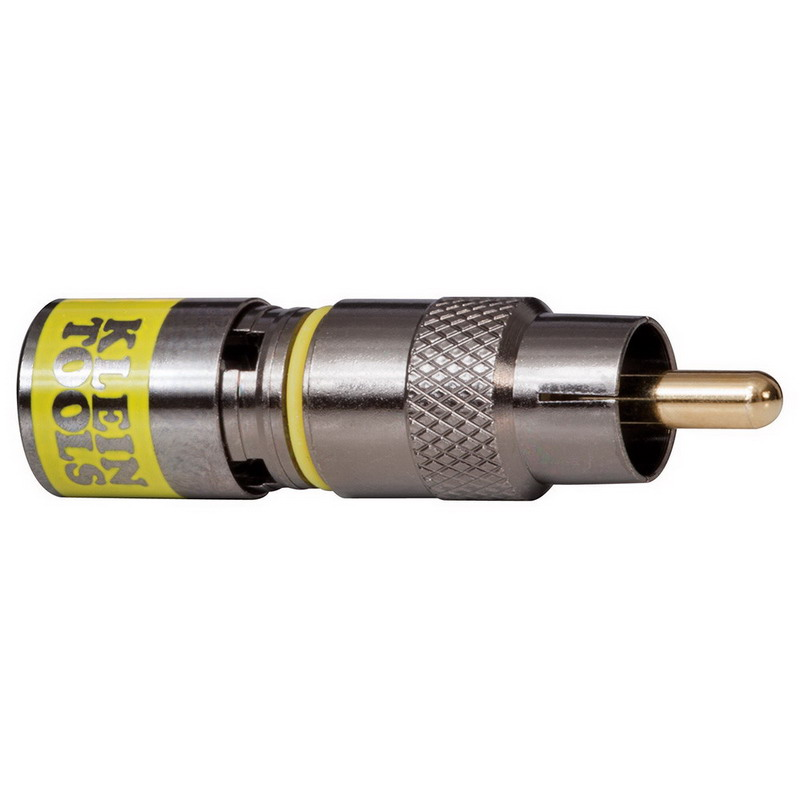 Klein Tools VDV813-614 RG6/6Q Universal RCA Compression Connector; Yellow, 35/Pack