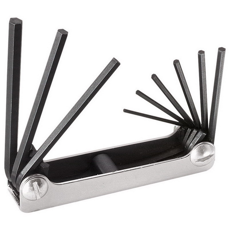 Klein Tools 70591 Folding Metric Hex Key Set; 4.250 Inch OAL, Heat-Treated Alloy Steel