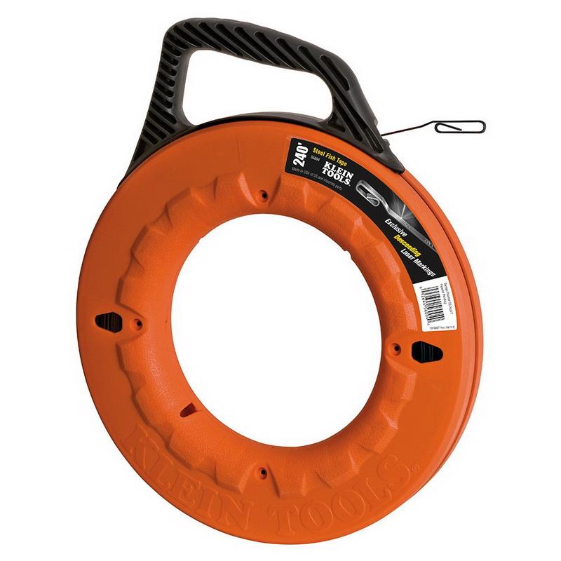 Klein Tools 56004 Wide Steel Fish Tape; Winding Case, 240 Feet Length, Spring Steel