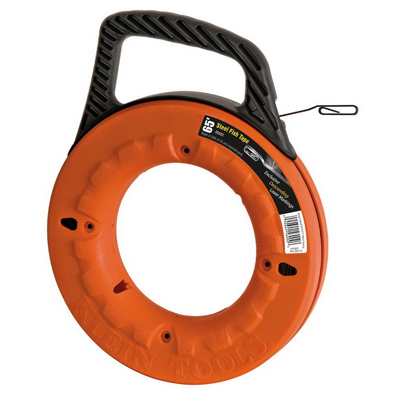 Klein Tools 56002 Fish Tape With Winder Case; 65 ft Length, Spring Steel