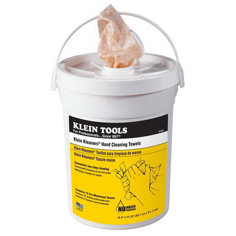 Klein Tools 51425 72-Piece Hand Cleaning Towel; Bucket, Pre-Moistened, Paper Cloth