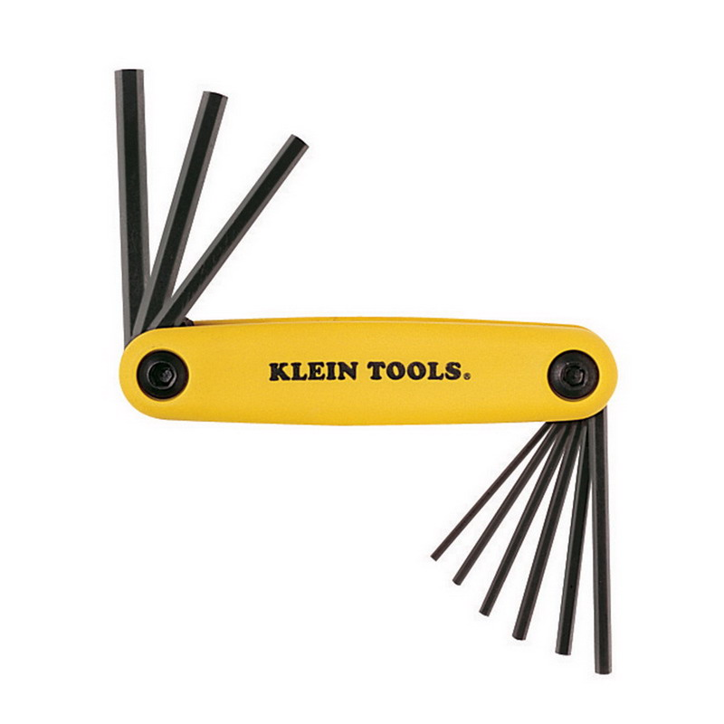 Klein Tools 70574 Grip-It® Folding Metric Hex Key Set; 9 Inch OAL, Tough Heat-Treated Alloy Steel