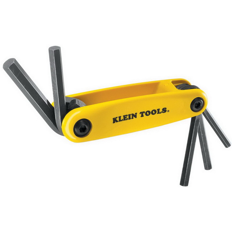 Klein Tools 70570 Grip-It® Folding Metric Hex Key Set; 5 Inch OAL, Tough Heat-Treated Alloy Steel