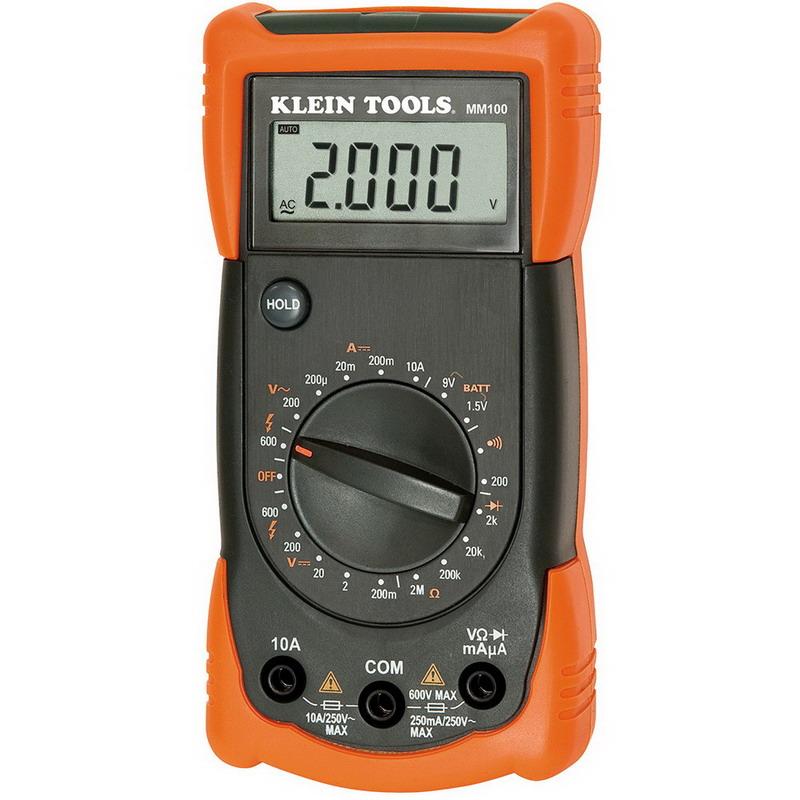 "Klein Tools MM100 Manual Ranging Professional Series Multimeter 0 - 600 Volt, 10 Amp, 50 - 60 Hz, 2 mega-ohm,"""