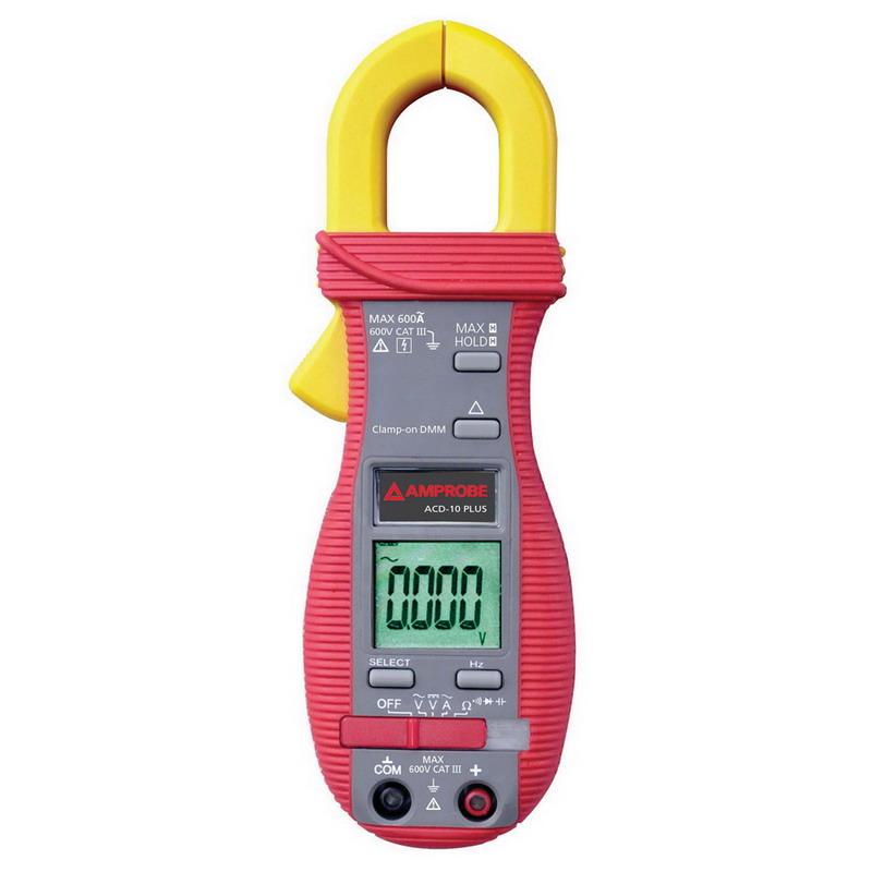 Fluke ACD-10-PLUS Clamp-On Multimeter; 4/40/400/600 Volt AC, 400 Milli-Volt, 4/40/400/600 Volt DC, 40/400/600 Amp AC, 40 - 400 Hz With Jaw, 10 - 100 Kilo Hz With Test Leads, 400 micro-ohm, 4/40/400 Ohm, 4/40 mega-ohm