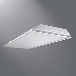 Cooper Lighting 2GR8-432A-UNV-L8741-EB81-U Metalux® 4-Light Standard Lay-In-Grid Mount General Purpose T8 Fluorescent Lensed Troffer; 32 Watt, Baked White Enamel, Lamps Not Included