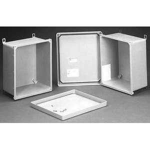 Hammond PJ14126H PJ Series Junction Box; 12.260 Inch Width x 6.130 Inch Depth x 14.130 Inch Height, Hinged Door With Screws, Fiberglass Polyester, Gray