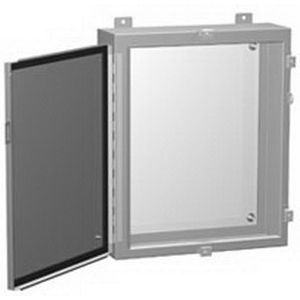Hammond 1418N4P12 Enclosure Wall Mount  14 Gauge Mild Steel Body and Door  ANSI 61 Gray Cover and Enclosure  White Inner Panel