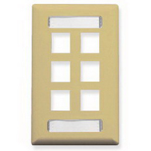 ICC IC107S06IV 1-Gang Faceplate; Screw, (6) Port, Ivory