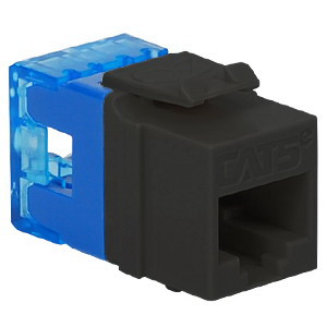 ICC IC1078F5BK High Density Category 5e Modular RJ45 Jack; Surface Mount, 8P8C, Black, Light Blue Termination Cap