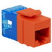 ICC IC1078F5OR High Density Category 5e Modular RJ45 Jack; Surface Mount, 8P8C, Orange, Light Blue Termination Cap