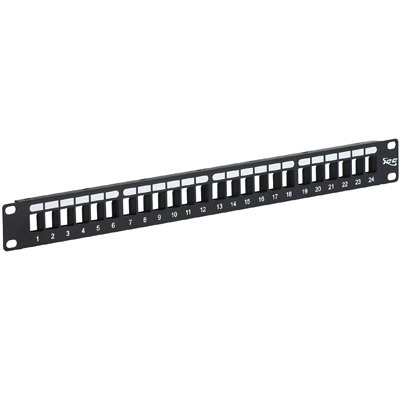 ICC IC107BP241 High Density Patch Panel; Rack Flush Mount, 24-Port, 1-Rack Unit, Black