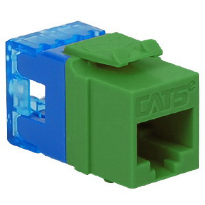 ICC IC1078F5GN High Density Category 5e Modular RJ45 Jack; Surface Mount, 8P8C, Green, Light Blue Termination Cap
