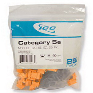 ICC IC107E5COR EZ® Style Category 5e RJ45 Modular Jack; 8P8C, Orange, 25/Pack