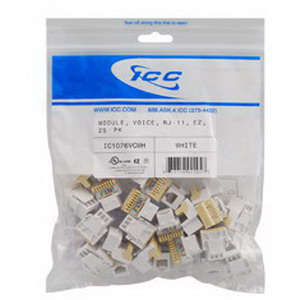ICC IC1076VCWH RJ11 Modular Jack; 6P6C, White, 25/Pack