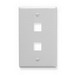 ICC IC107F02WH 1-Gang Classic Flat Faceplate; Flush, (2) Port, ABS, White