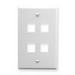 ICC IC107F04WH 1-Gang Classic Flat Faceplate; Flush, (4) Port, ABS, White