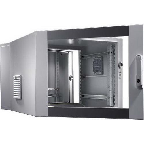 Rittal 7709535 3-Part Depth-Variable Pre-configured Enclosure Sheet Steel- RAL 7035 Wall/RAL 7035/7015 Glazed Door- 600 mm Width x 673 mm Depth x 478 mm Height-