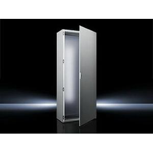 "Rittal 8085500 TS8 Freestanding Enclosure 16 Gauge Sheet Steel Frame, 14 Gauge Sheet Steel Door, RAL 7035 Light Gray,"""