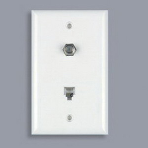 DataComm 40-1512 Color Rite 1-Gang Standard Wallplate; (1) 4C Jack, (1) Coax Cable, White