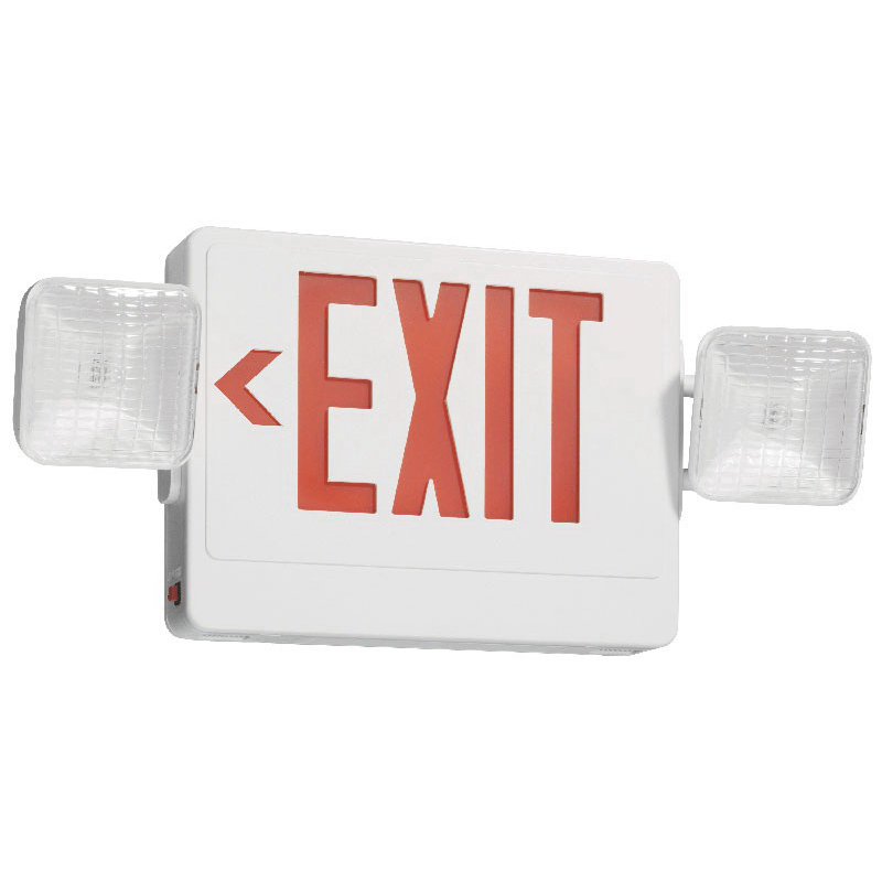 Juno Lighting NXPC3RWH Navilite® NXPC Series Combo Exit/Emergency Light; 120/277 Volt, 6.8 Watt At 277 Volt, 3.7 Watt At 277 Volt Standby, White, Red Letter