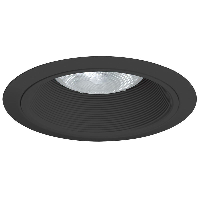 Juno Lighting 24B-BL Ceiling Mount 6 Inch Tapered Baffle Trim; Insulated/Non-Insulated, Black