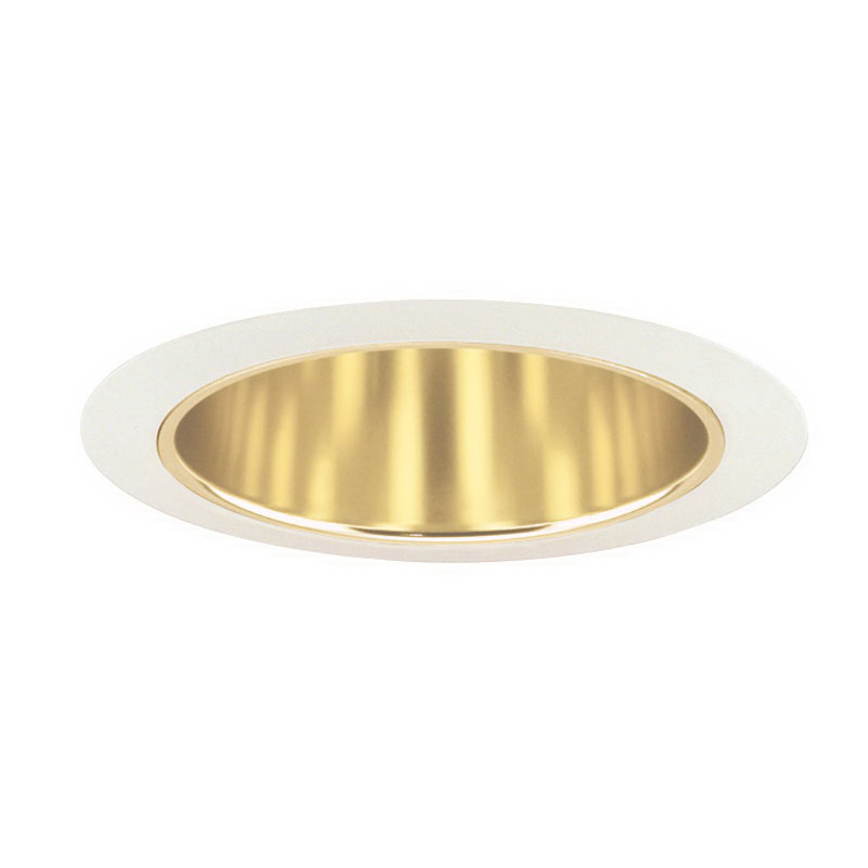Juno Lighting 27G-WH Ceiling Mount 6 Inch Tapered Cone Trim; Insulated, Gold Alzak, White Trim