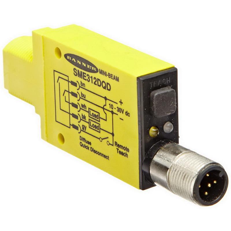 Banner SME312DQD Mini-Beam Proximity/Diffuse Sensor 380 mm Sensing Distance  10 – 30 Volt DC  1 NPN/1 PNP Output