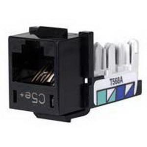 Hubbell Premise HXJ5EBK25 Xcelerator™ Speedgain™ Universal Standard Size Category 5e Modular Datacom Jack; 8P8C, Black