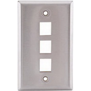 Hubbell Premise SSF13 1-Gang Wallplate; Screw, (3) Port, Keystone, 430 Stainless Steel