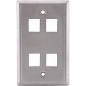 Hubbell Premise SSF14 iStation™ 1-Gang Faceplate; Flush, (4) Port, Stainless Steel