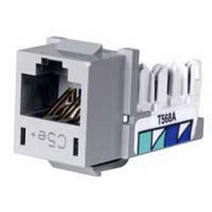 Hubbell Premise HXJ5EGY Xcelerator™ Speedgain™ Universal Standard Size Category 5e Modular Datacom Jack; 8P8C, Gray