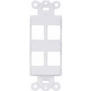Hubbell Premise ISF4OW 1-Gang Decorator Outlet Frame; Screw, (4) Port, Keystone, High Impact Nylon, Off White