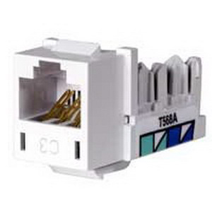 Hubbell Premise HXJ3W Xcelerator™ Standard Size Category 3 Keystone Jack; 8P, Electric Ivory