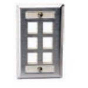 Hubbell Premise SSFL14 1-Gang Wallplate With Label Field; Screw, (4) Port, Keystone, 430 Stainless Steel