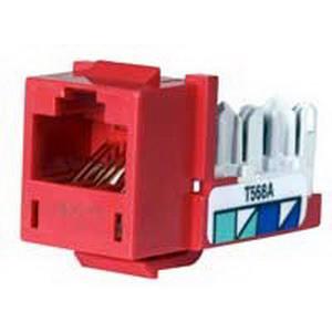 Hubbell Premise HXJ5ER Xcelerator™ Speedgain™ Universal Standard Size Category 5e Modular Datacom Jack; 8P8C, Red