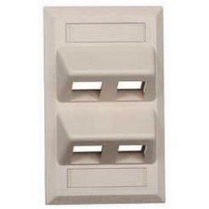 Hubbell Premise AFP14G 1-Gang Angled Wallplate; Flush, (4) Port, High Impact Nylon Thermoplastic, Gray
