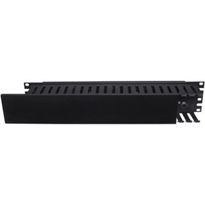 Hubbell Premise HC219CC3P Cable Management Horizontal Plastic Finger Duct Organizer With Steel Panel; 20.300 Inch x 3.500 Inch, Steel, Black