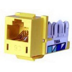 Hubbell Premise HXJ5EY25 Xcelerator™ Speedgain™ Universal Standard Size Category 5e Modular Datacom Jack; 8P8C, Yellow