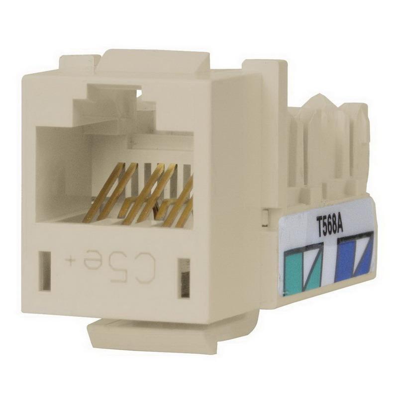 Hubbell Premise HXJ5ELA25 Xcelerator™ Speedgain™ Universal Standard Size Category 5e Modular Datacom Jack; 8P8C, Light Almond