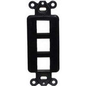 Hubbell Premise ISF3BK 1-Gang Decorator Outlet Frame; Screw, (3) Port, Keystone, High Impact Nylon, Black