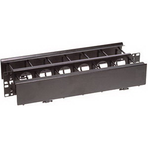 Hubbell Premise HC119CE1N Cable Management Horizontal Duct Panel; 19 Inch x 1.750 Inch, Steel, Black