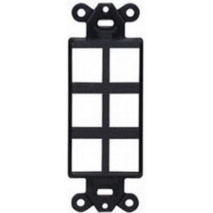 Hubbell Premise ISF6BK 1-Gang Decorator Outlet Frame; Screw, (6) Port, Keystone, High Impact Nylon, Black