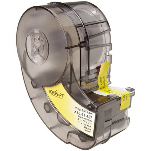 Brady XSL-11-427 Label Cartridge; 0.500 Inch Width x 0.750 Inch Height, Black/White/Translucent, B-427 Self-Laminating Vinyl, 450/Cartridge