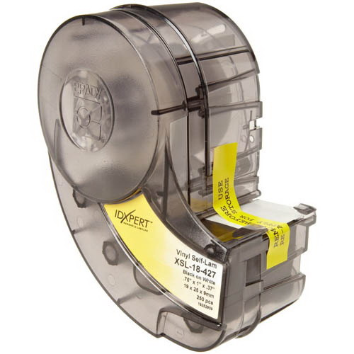 Brady XSL-18-427 Label Cartridge; 0.750 Inch Width x 1 Inch Height, Black/White/Translucent, B-427 Self-Laminating Vinyl, 250/Cartridge