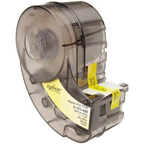 Brady X-103-498 Wire Marker Label; 1 Inch Width x 1.250 Inch Height, Black/White, B-498 Repositionable Vinyl Cloth, 200/Cartridge