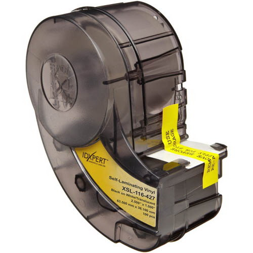 Brady XSL-116-427 Label Cartridge; 1.500 Inch Width x 2.500 Inch Height, Black/White/Translucent, B-427 Self-Laminating Vinyl, 100/Cartridge