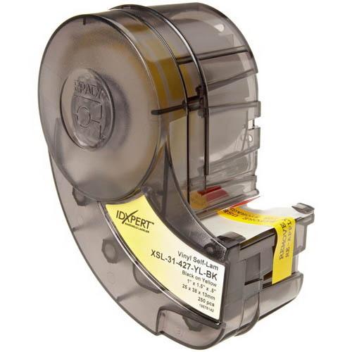 Brady XSL-31-427-YL-BK Label Cartridge; 1 Inch Width x 1.500 Inch Height, Black/Yellow/Translucent, B-427 Self-Laminating Vinyl, 250/Cartridge