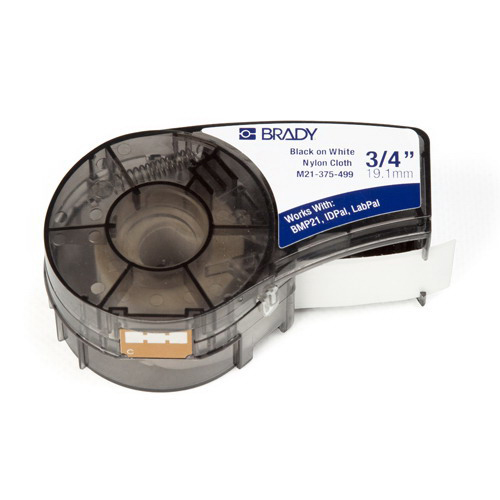 Brady M21-375-499 High Adhesion Label Cartridge; 0.375 Inch Width x 16 ft Height, Black/White