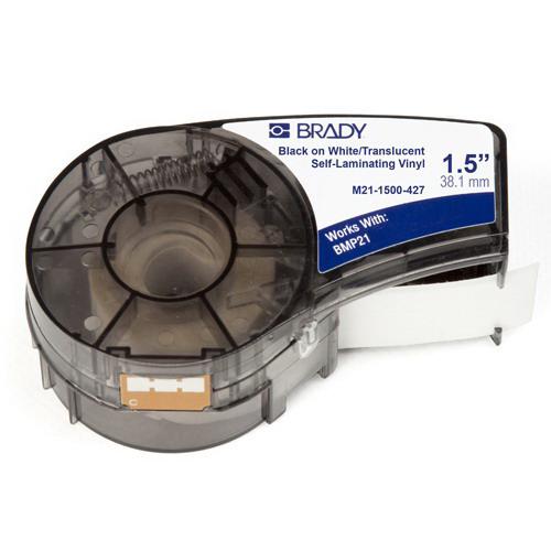 Brady M21-1500-427 Self Laminating Label Cartridge; 1-1/2 Inch Width x 14 ft Height, Black/White/Translucent, B-427 Self-Laminating Vinyl